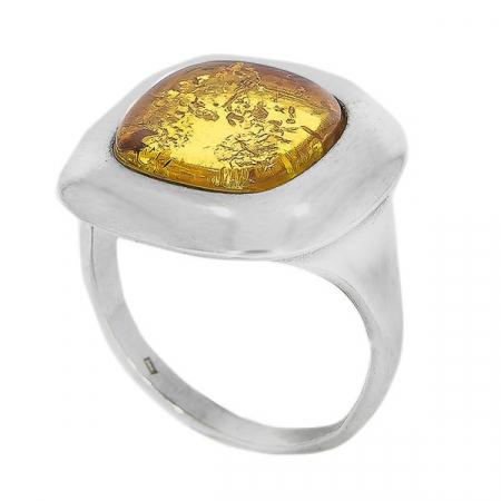 Inel pătrat din argint cu piatră de chihlimbar [4]