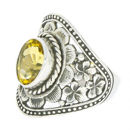 Inel din argint antichizat cu motive florale lucrate manual și citrin [2]
