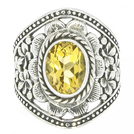 Inel din argint antichizat cu motive florale lucrate manual și citrin [0]