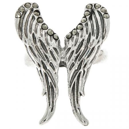 Inel argint antichizat model aripi cu cristale de marcasită [0]
