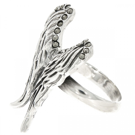 Inel argint antichizat model aripi cu cristale de marcasită [2]