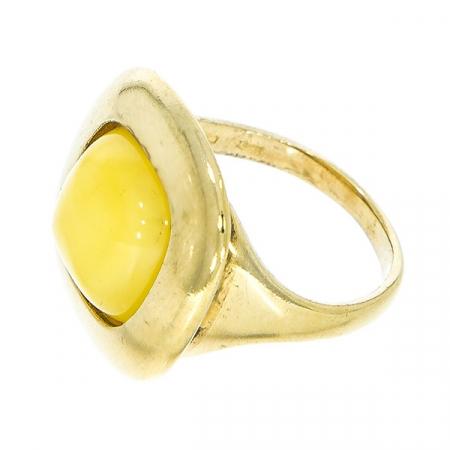 Inel din argint placat cu aur și piatră de chihlimbar galben baltic natural [1]