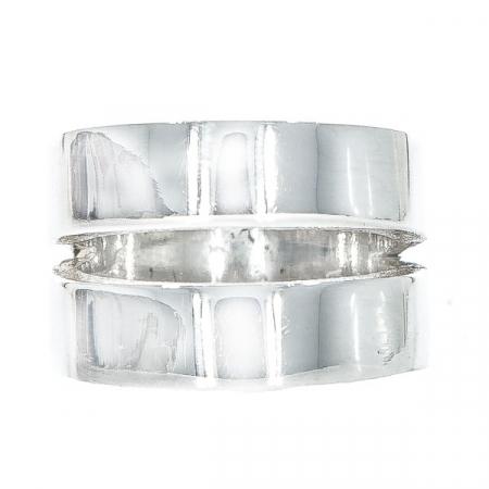 Inel stil verighetă din argint, model lat [0]