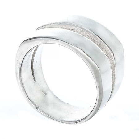 Inel stil verighetă din argint, model lat [1]