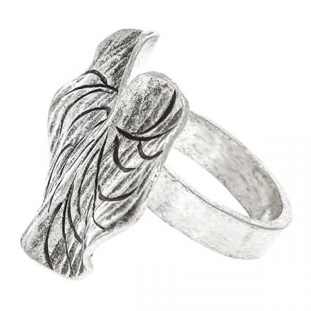 Inel din argint antichizat handmade model frunză [0]