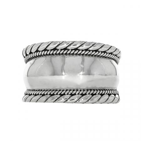 Inel verighetă lată din argint cu detalii antichizate [2]