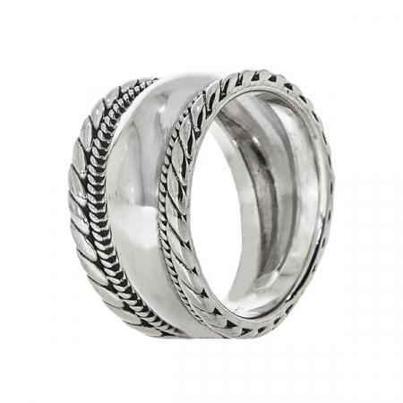 Inel verighetă lată din argint cu detalii antichizate [3]