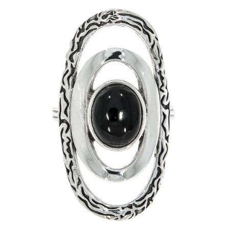 Inel deosebit din argint patinat cu piatră de agat negru [0]