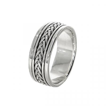 Inel argint cu model împletit [3]