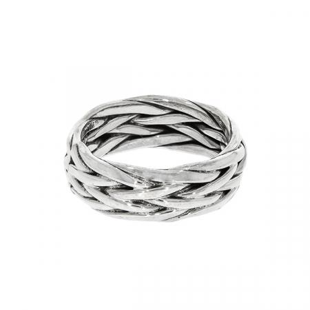 Inel verighetă, din argint, împletit [1]