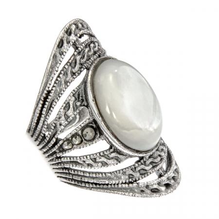 Inel din argint antichizat lat cu marcasite și sidef alb [2]