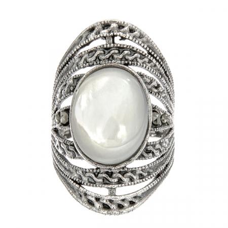 Inel din argint antichizat lat cu marcasite și sidef alb [0]