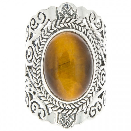 Inel statement din argint antichizat lucrat manual cu piatră ochi de tigru [0]