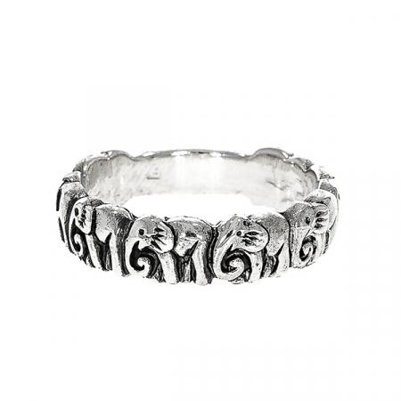 Inel din argint cu elefanți [2]