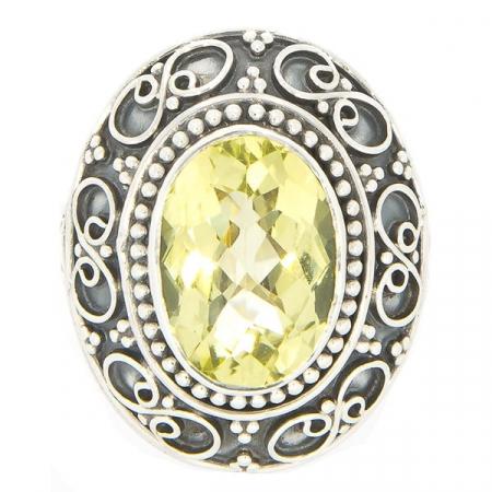Inel statement din argint antichizat cu motive florale și citrin [0]