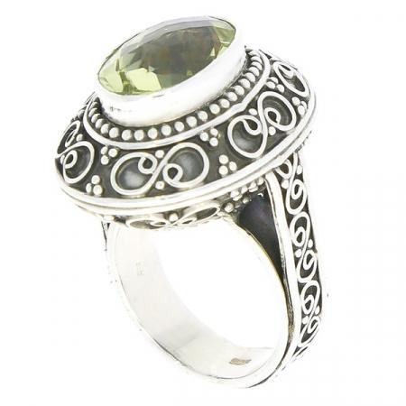 Inel statement din argint antichizat cu motive florale și citrin [3]