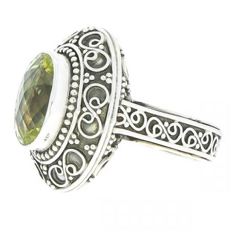 Inel statement din argint antichizat cu motive florale și citrin [2]