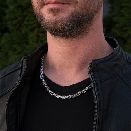 Lanț lung bărbătesc din argint, model bizantin cu elemente masive [2]