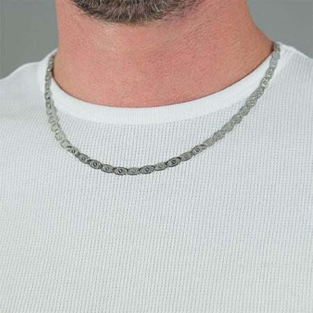 Lanț bărbătesc din argint, model cu plăcuțe gravate [0]