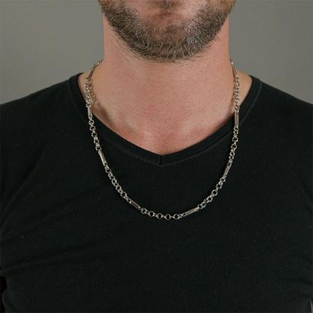 Lanț bărbătesc din argint rodiat, stil modern [1]