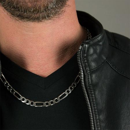 Lanț lung din argint rodiat 925 model figaro zale mari [1]
