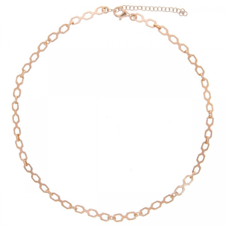 Lant tip choker argint placat cu aur rose cu zale hexagonale [0]
