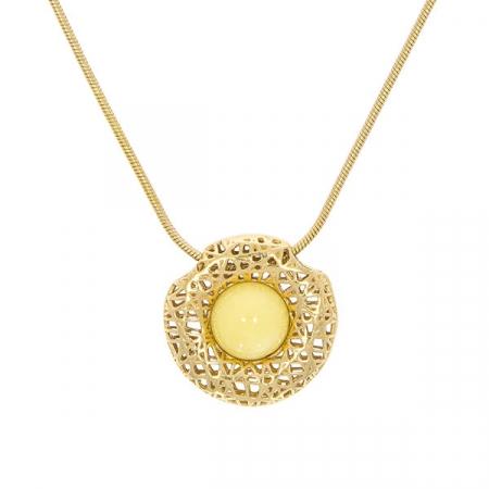 Lantisor argint aurit cu pandantiv cu chihlimbar [0]