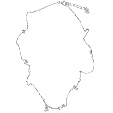 Colier argint rodiat cu medalion inimioara si text love [2]