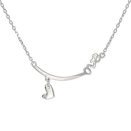 Colier argint rodiat cu medalion inimioara si text love [0]