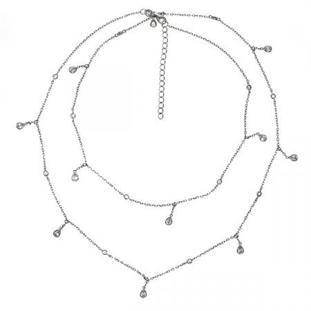 Lantisor din argint rodiat cu cristale de zirconiu [2]