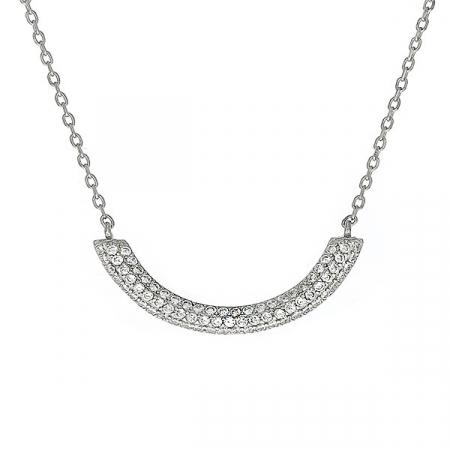 Lantisor elegant din argint cu pandantiv semiluna cu cristale [0]