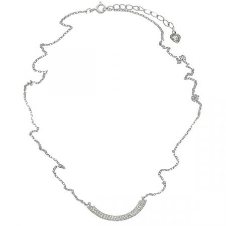 Lantisor elegant din argint cu pandantiv semiluna cu cristale [2]