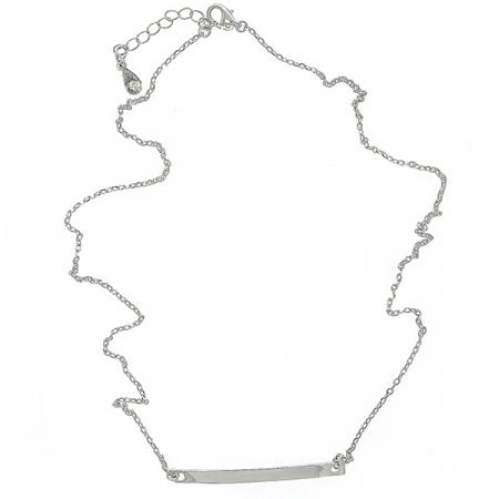 Colier din argint placat cu rodiu si pandantiv placuta [2]