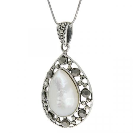 Pandantiv lacrimă din argint, de dimensiuni medii, cu piatră de sidef și marcasite [3]
