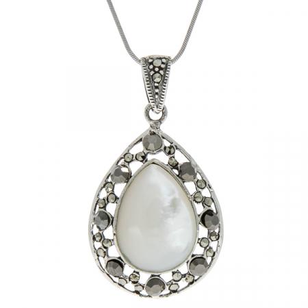 Pandantiv lacrimă din argint, de dimensiuni medii, cu piatră de sidef și marcasite [2]