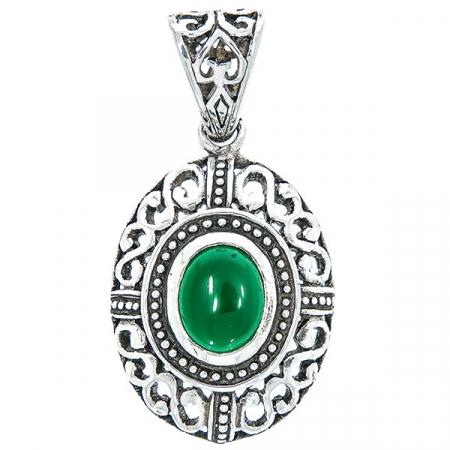 Pandantiv din argint antichizat oval cu piatră de agat verde [0]