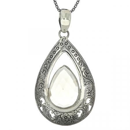 Pandantiv din argint în formă de lacrimă cu motive florale și citrin fațetat [2]