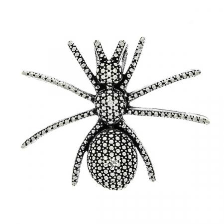 Pandantiv lucrat manual din argint antichizat în formă de păianjen [0]