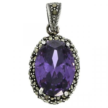 Pandantiv oval din argint cu piatră de zirconiu violet și cristale de marcasită [0]