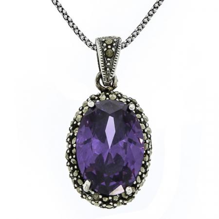 Pandantiv oval din argint cu piatră de zirconiu violet și cristale de marcasită [2]