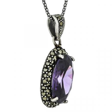 Pandantiv oval din argint cu piatră de zirconiu violet și cristale de marcasită [3]