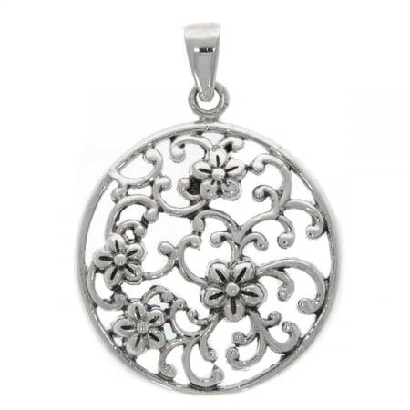 Pandantiv rotund din argint antichizat cu detalii florale [0]
