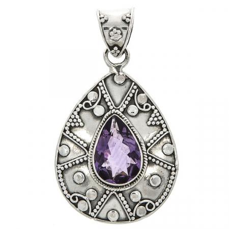 Pandantiv lacrimă din argint 925 cu cristal de zirconiu fațetat violet [0]