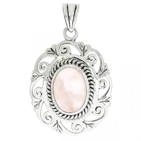 Pandantiv oval realizat manual din argint cu piatră de cuarț roz [0]
