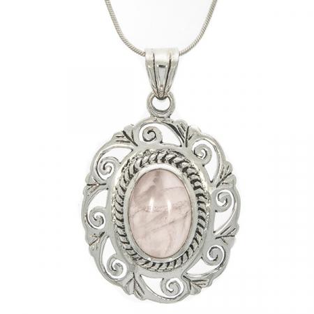 Pandantiv oval realizat manual din argint cu piatră de cuarț roz [2]