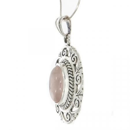Pandantiv oval realizat manual din argint cu piatră de cuarț roz [3]