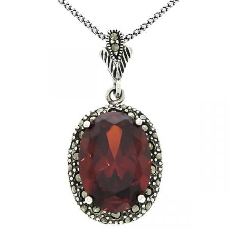 Pandantiv oval din argint cu zirconiu roșu și cristale de marcasită [3]