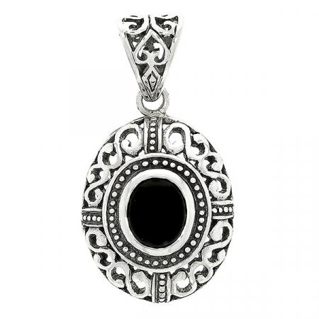 Pandantiv oval din argint cu motive florale și piatră de agat neagră [0]