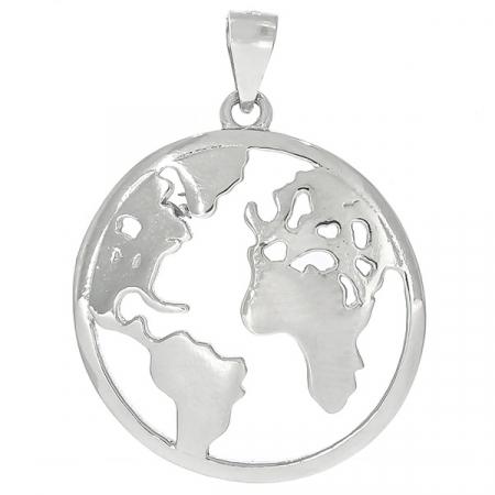 Pandantiv rotund din argint lucios cu harta lumii [0]