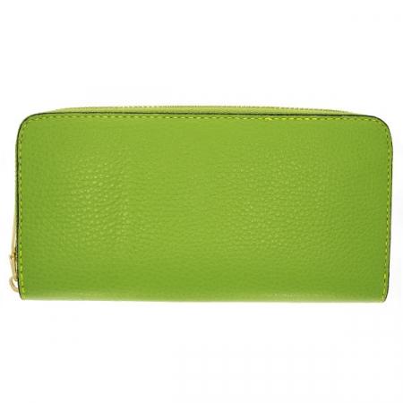 Portofel casual din piele naturală verde, lung, cu fermoar auriu [0]